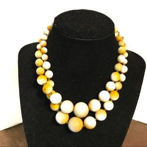 Vintage yellow beaded necklace made in Jap…